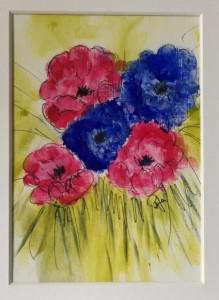 blomster på papir akryl 12 - 17