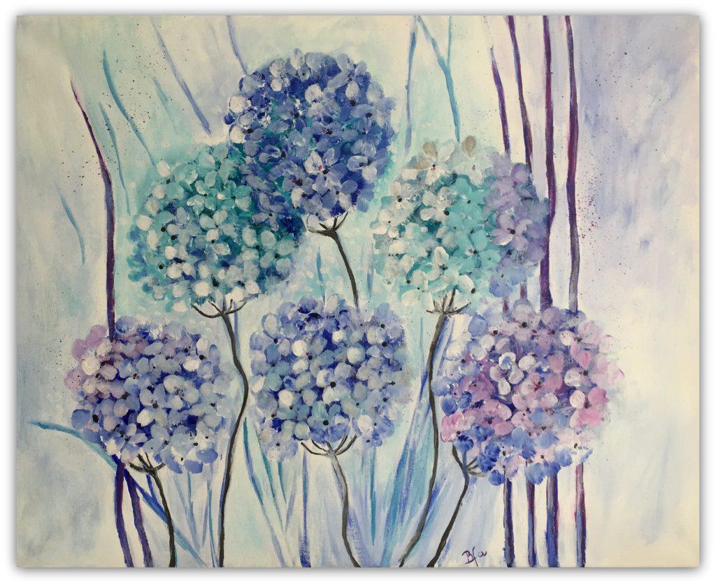 30 - 40  hortensia akrylmaleri