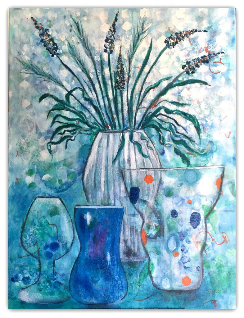 Intuitivt maleri, med vaser akryl maleri 60 - 80