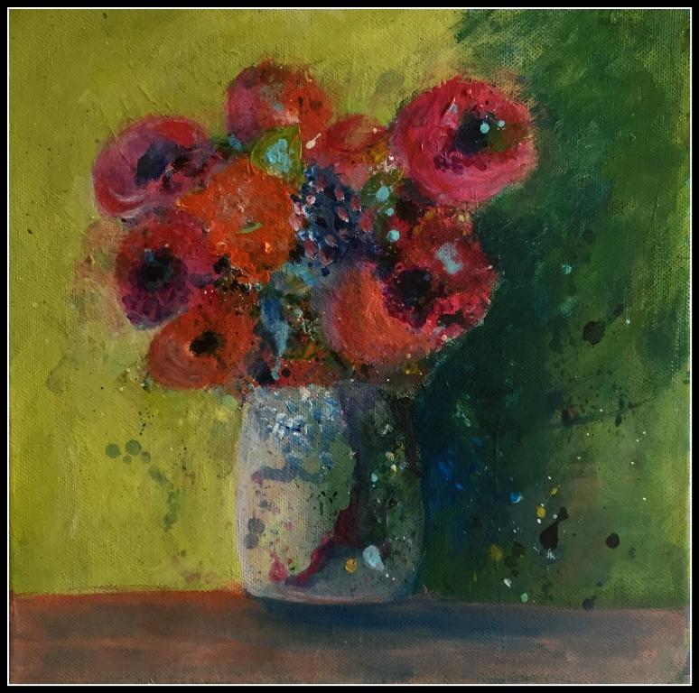 Abstrakte blomster i vase