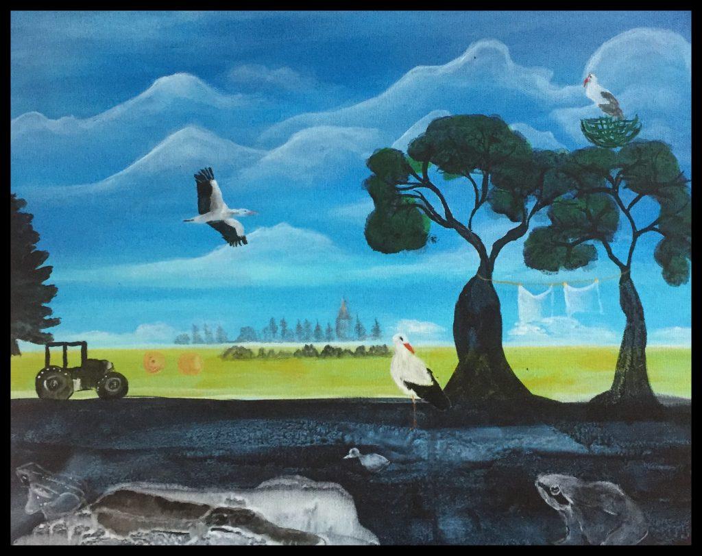 Storken, akryl fantasi