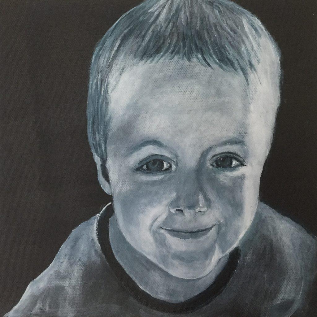 Portrætter , børnebørn, akrylmaleri