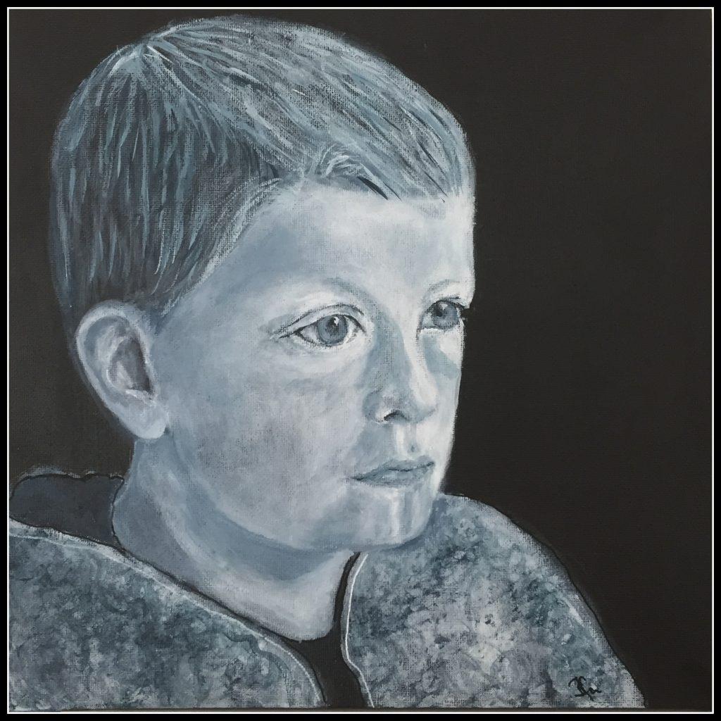 Portræt af en dreng, akrylmaling