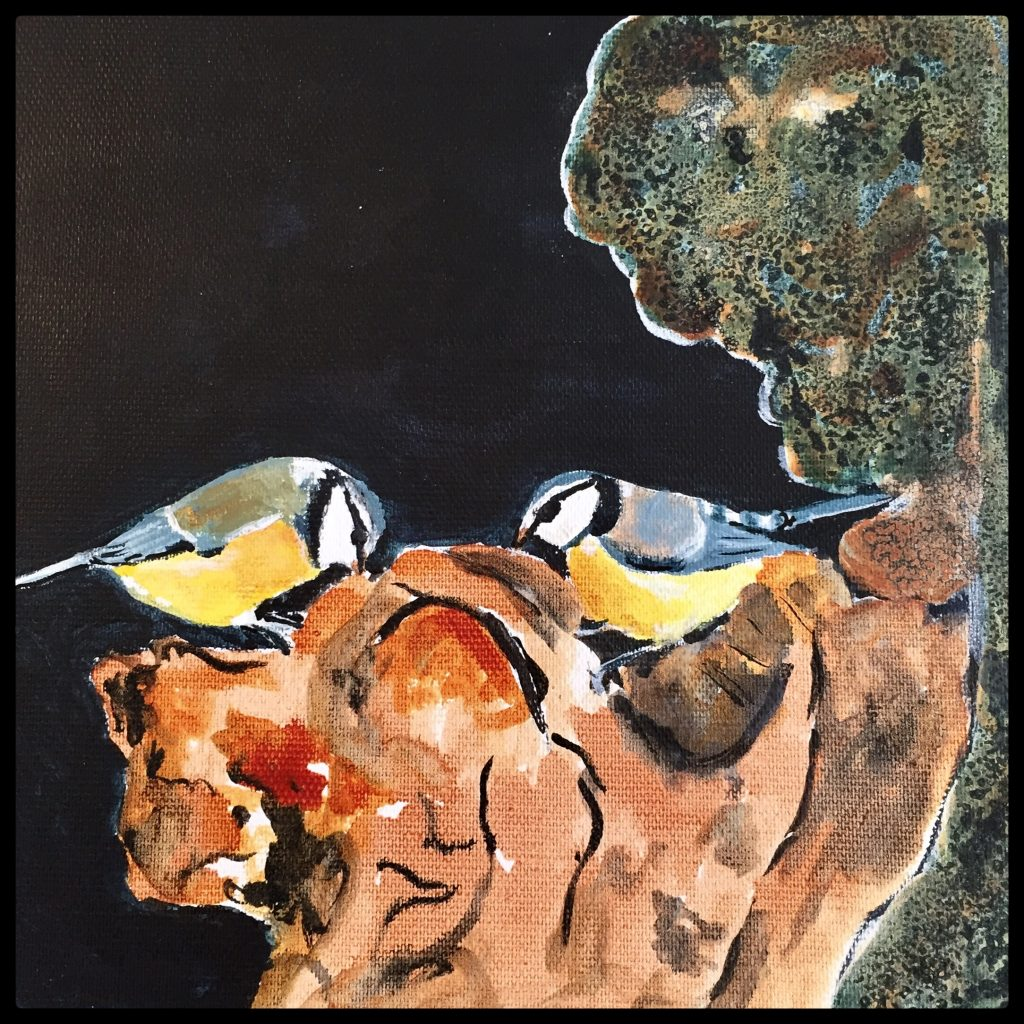 blåmejser på træstup , akrylmaleri