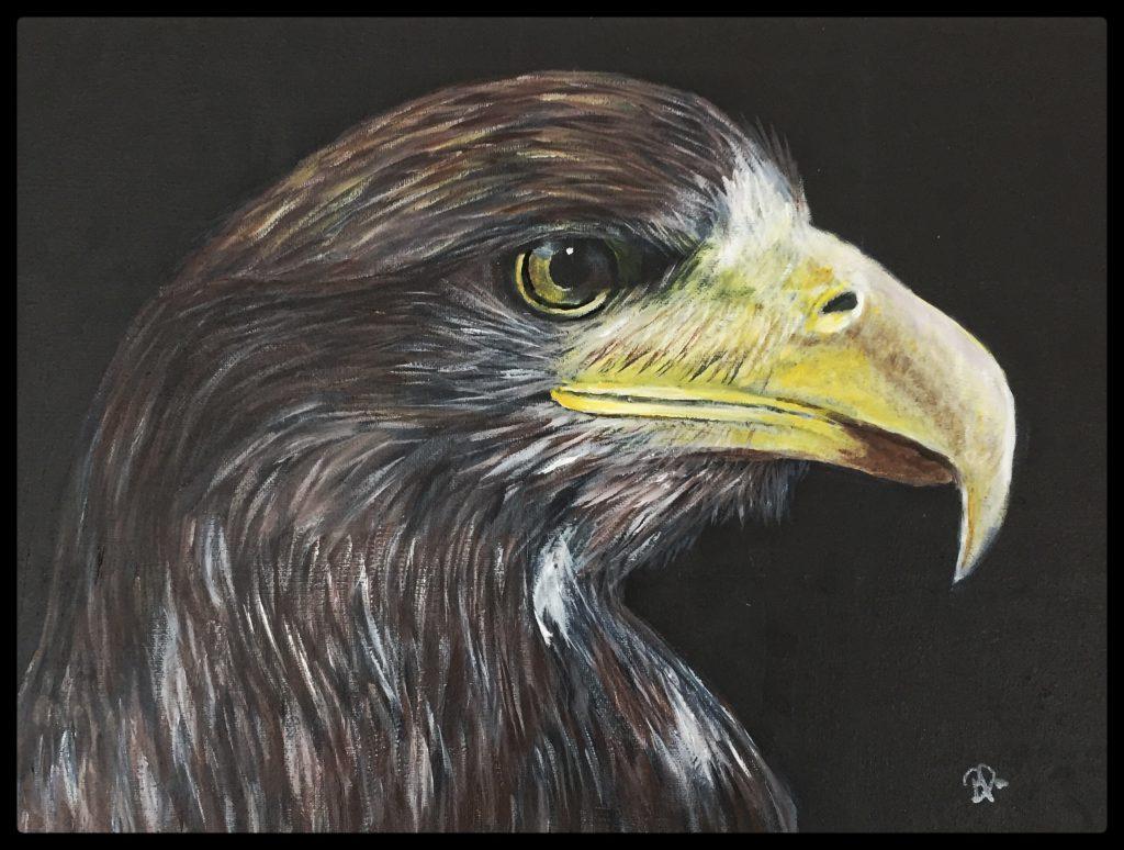 min rovfugl, akrylmaleri